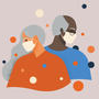 illustrations of an old man and woman wearing facemasks